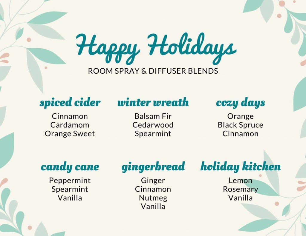 Christmas Essential Oil Blends printable card